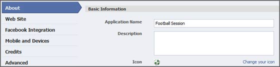 Application name and icon